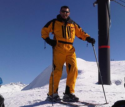 Dr. MIchael Bebbington skiing on Whistler Mountain in British Columbia