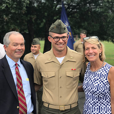 Dr. Chapman and his wife with their son at Officer Candidate School graduation