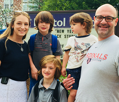 Dr. Holly Hoefgen and her family ... first day of school!