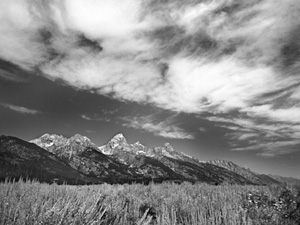 Black and white photograph of mountains taken by Dr. Warner